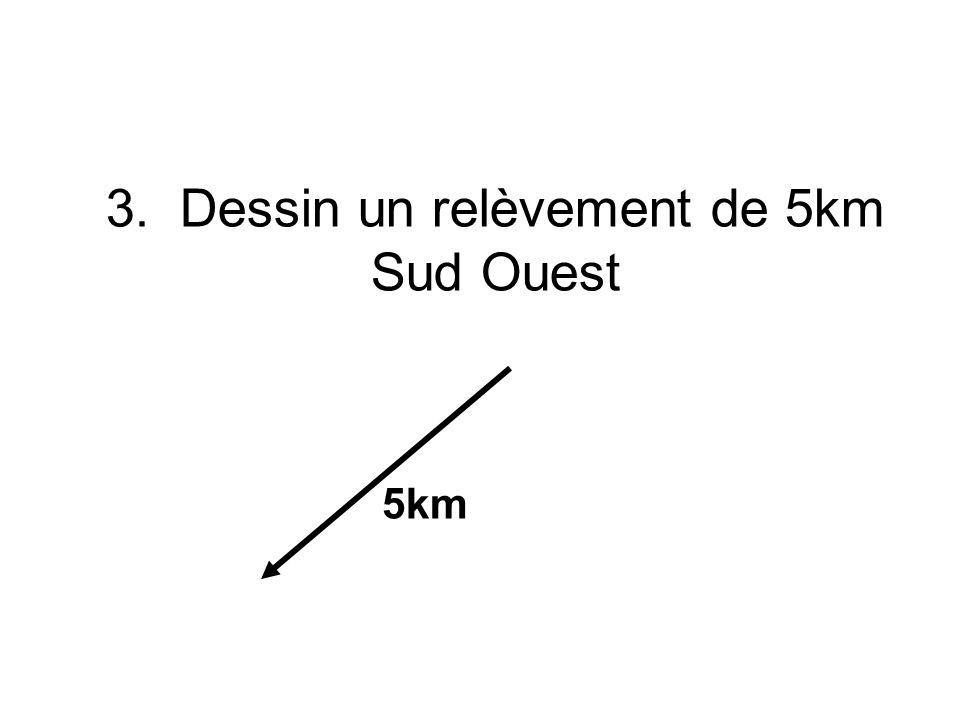 3. Dessin un relèvement de 5km Sud Ouest 5km