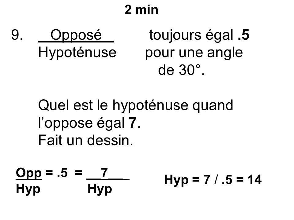 9. Opposé toujours égal.5 Hypoténuse pour une angle de 30°.