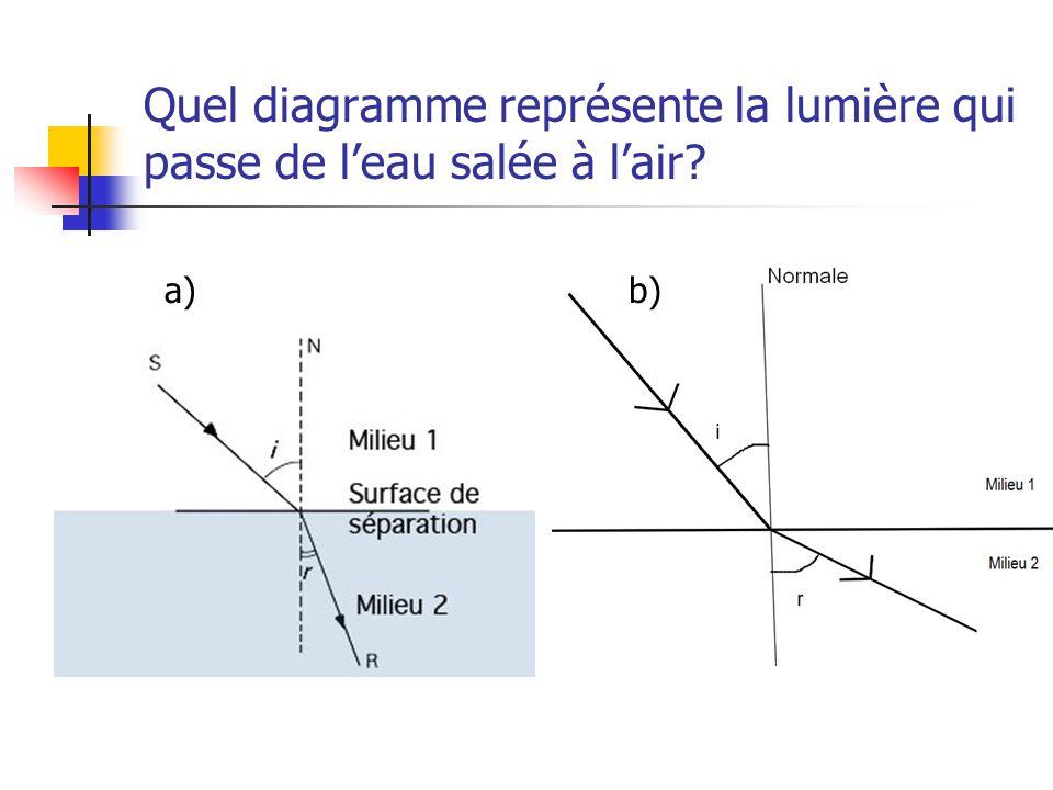 Quel diagramme représente la lumière qui passe de leau salée à lair? a)b)