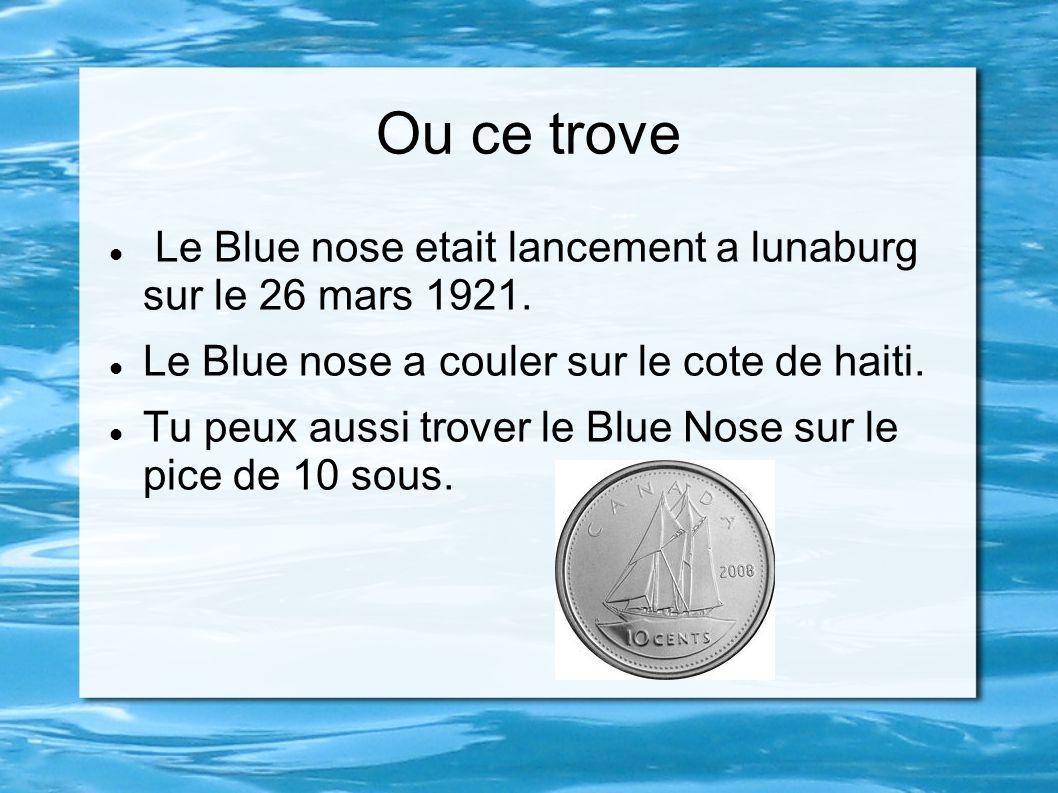 Ou ce trove Le Blue nose etait lancement a lunaburg sur le 26 mars 1921. Le Blue nose a couler sur le cote de haiti. Tu peux aussi trover le Blue Nose