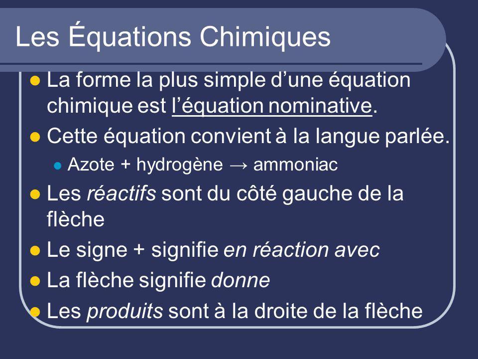 Les Équations Chimiques La forme la plus simple dune équation chimique est léquation nominative. Cette équation convient à la langue parlée. Azote + h