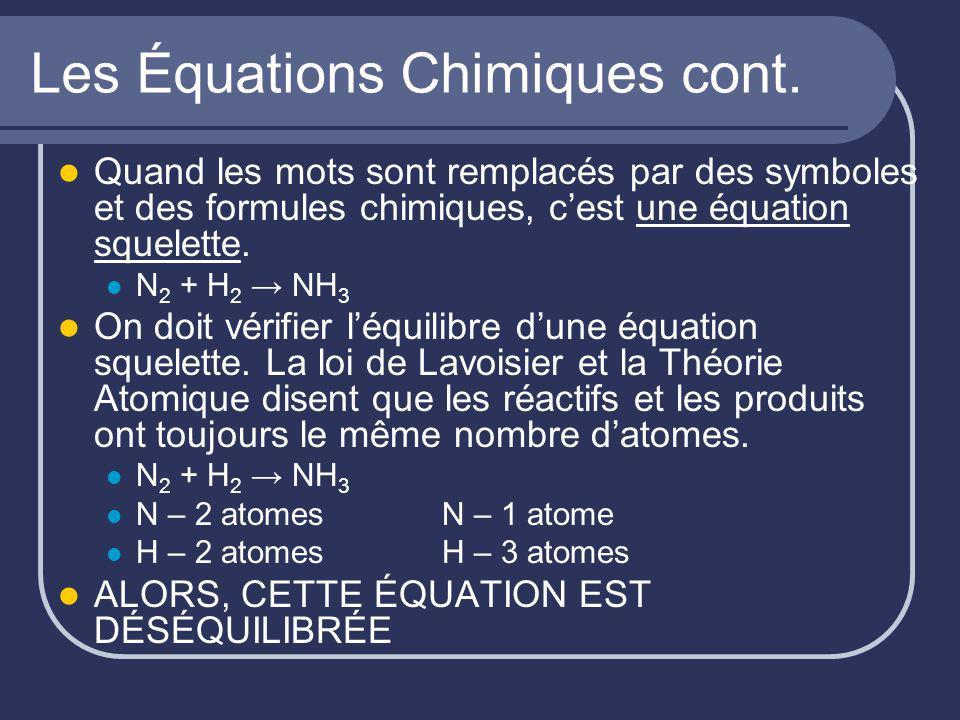 Les Équations Chimiques cont. Quand les mots sont remplacés par des symboles et des formules chimiques, cest une équation squelette. N 2 + H 2 NH 3 On