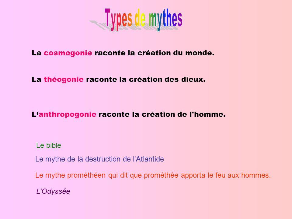La cosmogonie raconte la création du monde.La théogonie raconte la création des dieux.
