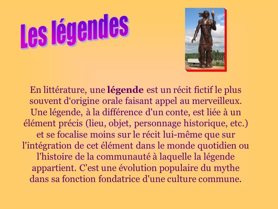 En littérature, une légende est un récit fictif le plus souvent dorigine orale faisant appel au merveilleux.