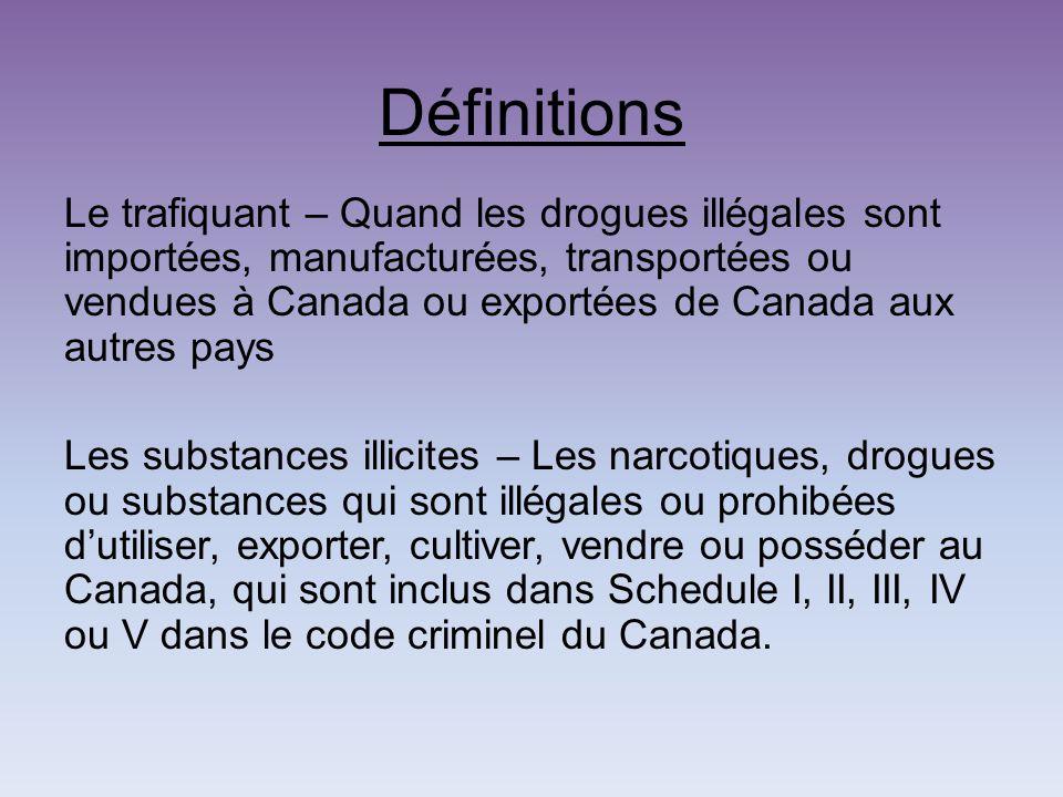 Définitions Le trafiquant – Quand les drogues illégales sont importées, manufacturées, transportées ou vendues à Canada ou exportées de Canada aux autres pays Les substances illicites – Les narcotiques, drogues ou substances qui sont illégales ou prohibées dutiliser, exporter, cultiver, vendre ou posséder au Canada, qui sont inclus dans Schedule I, II, III, IV ou V dans le code criminel du Canada.