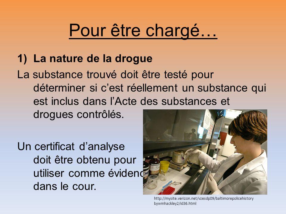 Pour être chargé… 1)La nature de la drogue La substance trouvé doit être testé pour déterminer si cest réellement un substance qui est inclus dans lActe des substances et drogues contrôlés.