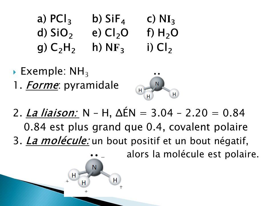 a) PCl 3 b) SiF 4 c) N I 3 d) SiO 2 e) Cl 2 O f) H 2 O g) C 2 H 2 h) N F 3 i) Cl 2 Exemple: NH 3 1. Forme: pyramidale 2. La liaison: N – H, ΔÉN = 3.04