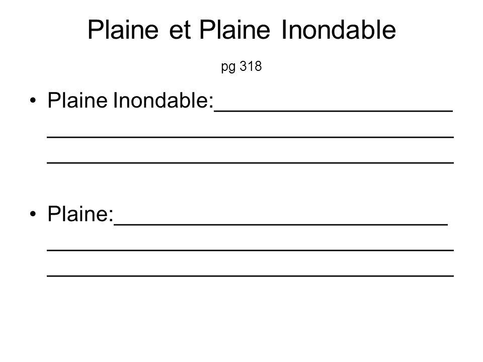 Plaine et Plaine Inondable pg 318 Plaine Inondable:____________________ __________________________________ __________________________________ Plaine:____________________________ __________________________________ __________________________________