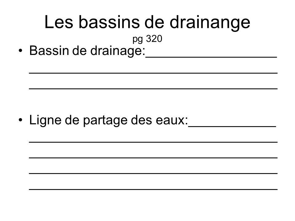 Les bassins de drainange pg 320 Bassin de drainage:__________________ __________________________________ __________________________________ Ligne de partage des eaux:____________ __________________________________ __________________________________ __________________________________ __________________________________