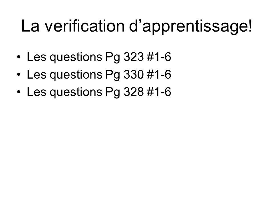 La verification dapprentissage.