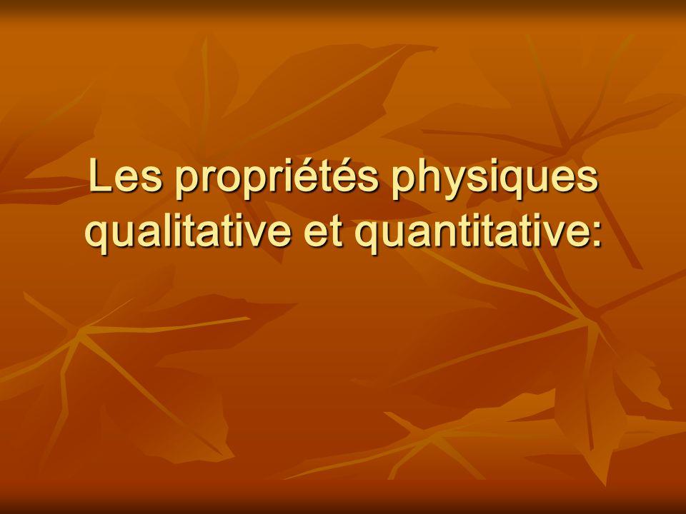 Définitions Une propriété physique qualitative caractérise une substance que lon peut décrire mais que lon ne peut pas mesurer.