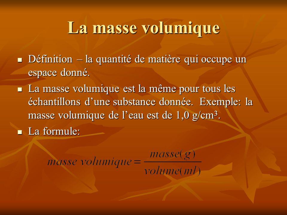 La masse volumique Définition – la quantité de matière qui occupe un espace donné.