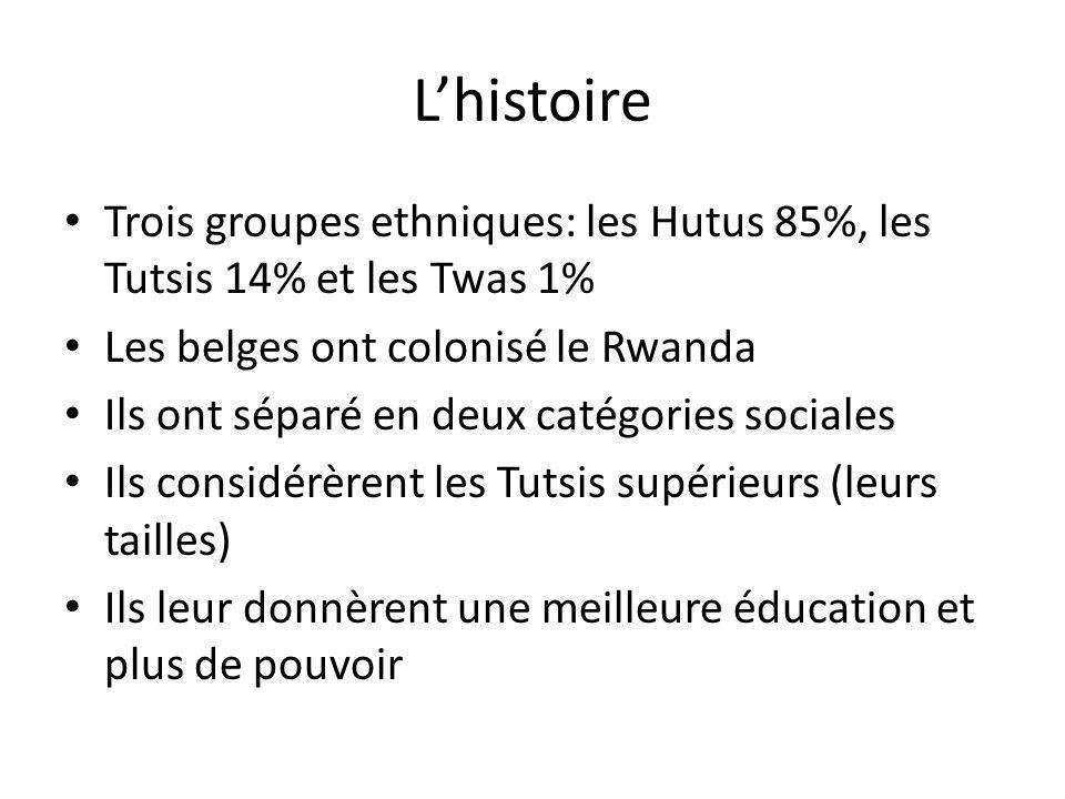 Lhistoire Trois groupes ethniques: les Hutus 85%, les Tutsis 14% et les Twas 1% Les belges ont colonisé le Rwanda Ils ont séparé en deux catégories so