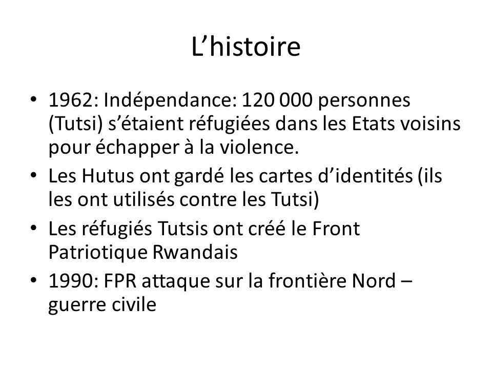 Lhistoire 1962: Indépendance: 120 000 personnes (Tutsi) sétaient réfugiées dans les Etats voisins pour échapper à la violence. Les Hutus ont gardé les