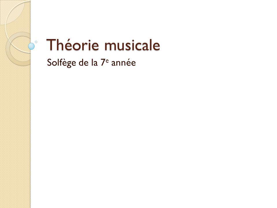 Théorie musicale Solfège de la 7 e année
