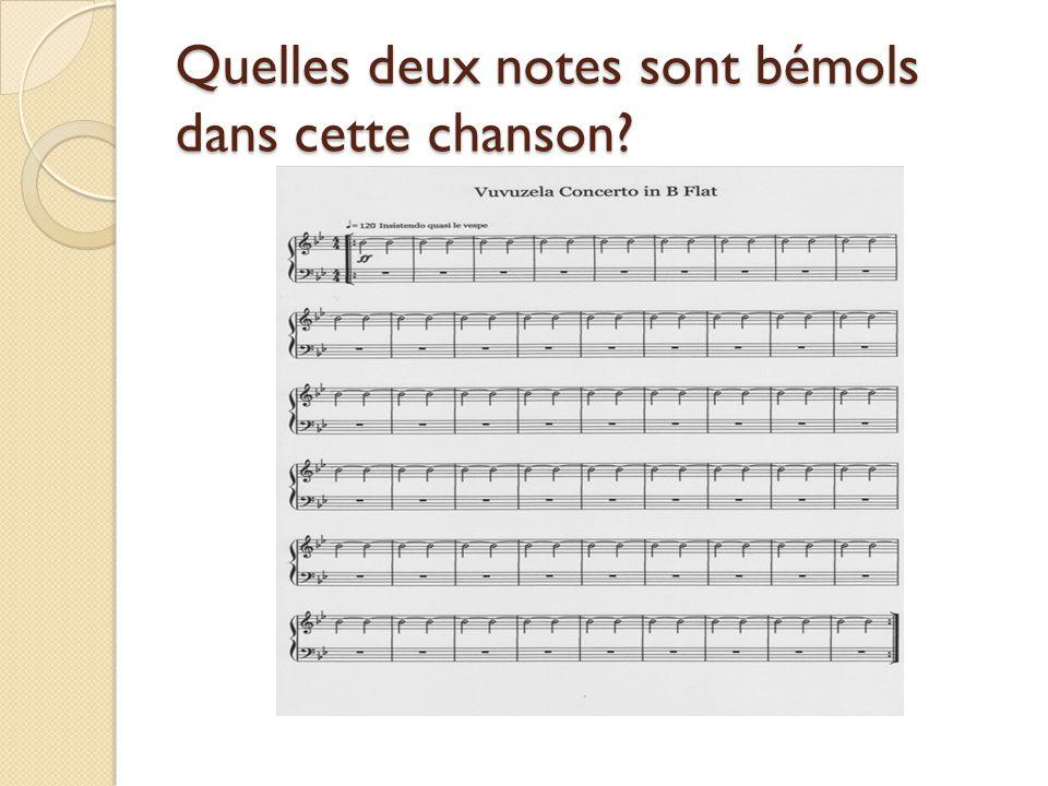 Quelles deux notes sont bémols dans cette chanson?