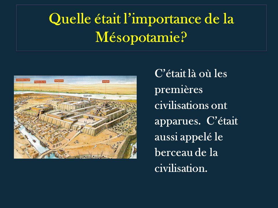 Quelle était limportance de la Mésopotamie? Cétait là où les premières civilisations ont apparues. Cétait aussi appelé le berceau de la civilisation.