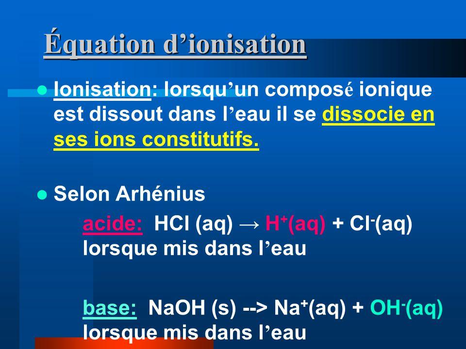 Équation dionisation Ionisation: lorsqu un compos é ionique est dissout dans l eau il se dissocie en ses ions constitutifs.