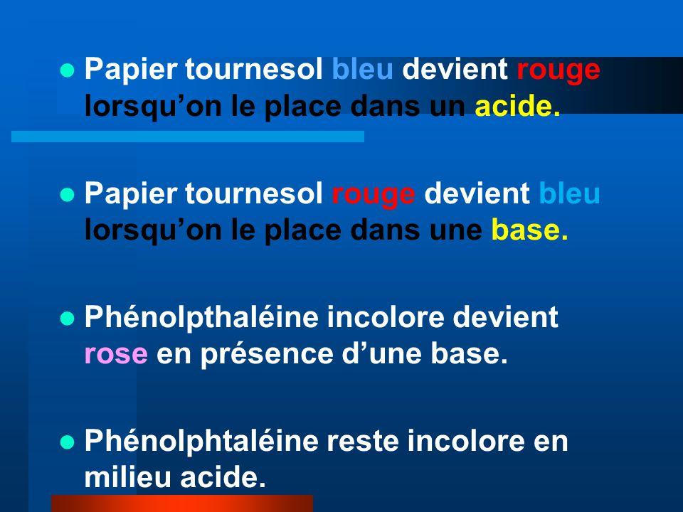 Papier tournesol bleu devient rouge lorsquon le place dans un acide.