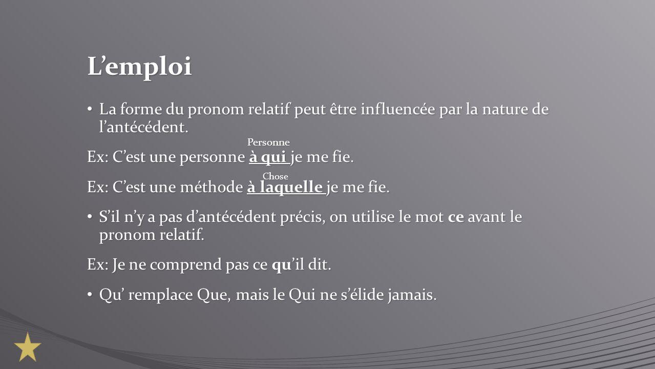 Lemploi La forme du pronom relatif peut être influencée par la nature de lantécédent. La forme du pronom relatif peut être influencée par la nature de