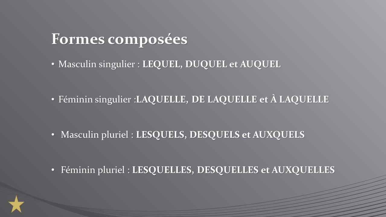 Formes composées Masculin singulier : LEQUEL, DUQUEL et AUQUEL Masculin singulier : LEQUEL, DUQUEL et AUQUEL Féminin singulier :LAQUELLE, DE LAQUELLE