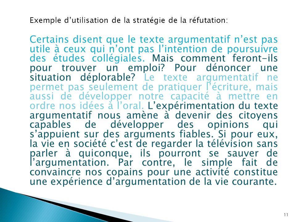 Exemple dutilisation de la stratégie de la réfutation: Certains disent que le texte argumentatif nest pas utile à ceux qui nont pas lintention de pour