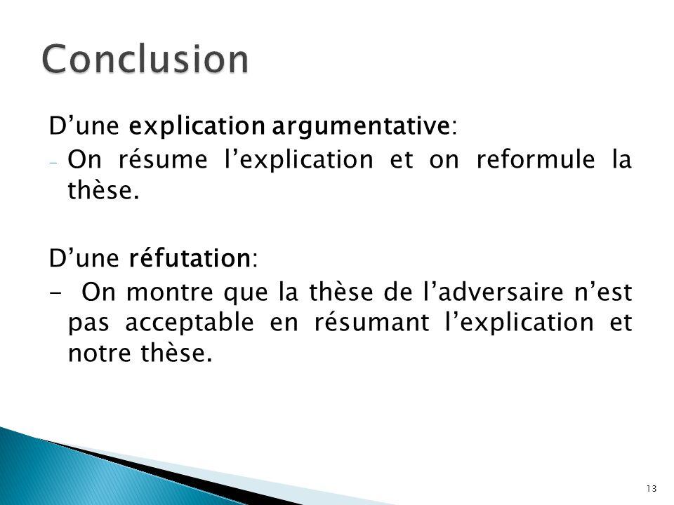 Dune explication argumentative: - On résume lexplication et on reformule la thèse. Dune réfutation: - On montre que la thèse de ladversaire nest pas a