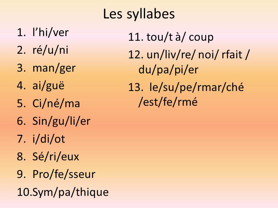 Les syllabes 1.lhi/ver 2.ré/u/ni 3.man/ger 4.ai/guë 5.Ci/né/ma 6.Sin/gu/li/er 7.i/di/ot 8.Sé/ri/eux 9.Pro/fe/sseur 10.Sym/pa/thique 11.
