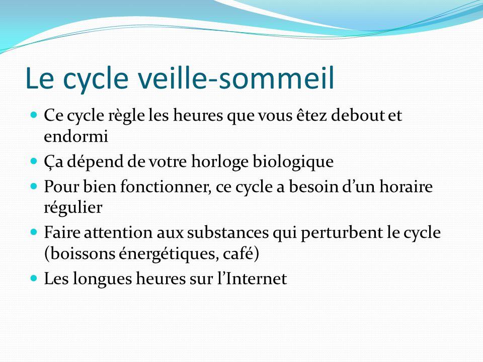 Le cycle veille-sommeil Ce cycle règle les heures que vous êtez debout et endormi Ça dépend de votre horloge biologique Pour bien fonctionner, ce cycl