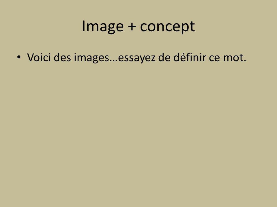 Image + concept Voici des images…essayez de définir ce mot.