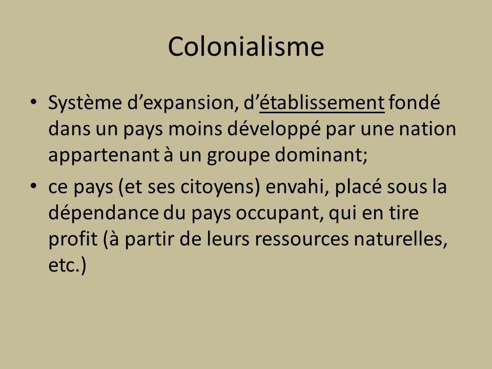 Colonialisme Système dexpansion, détablissement fondé dans un pays moins développé par une nation appartenant à un groupe dominant; ce pays (et ses ci
