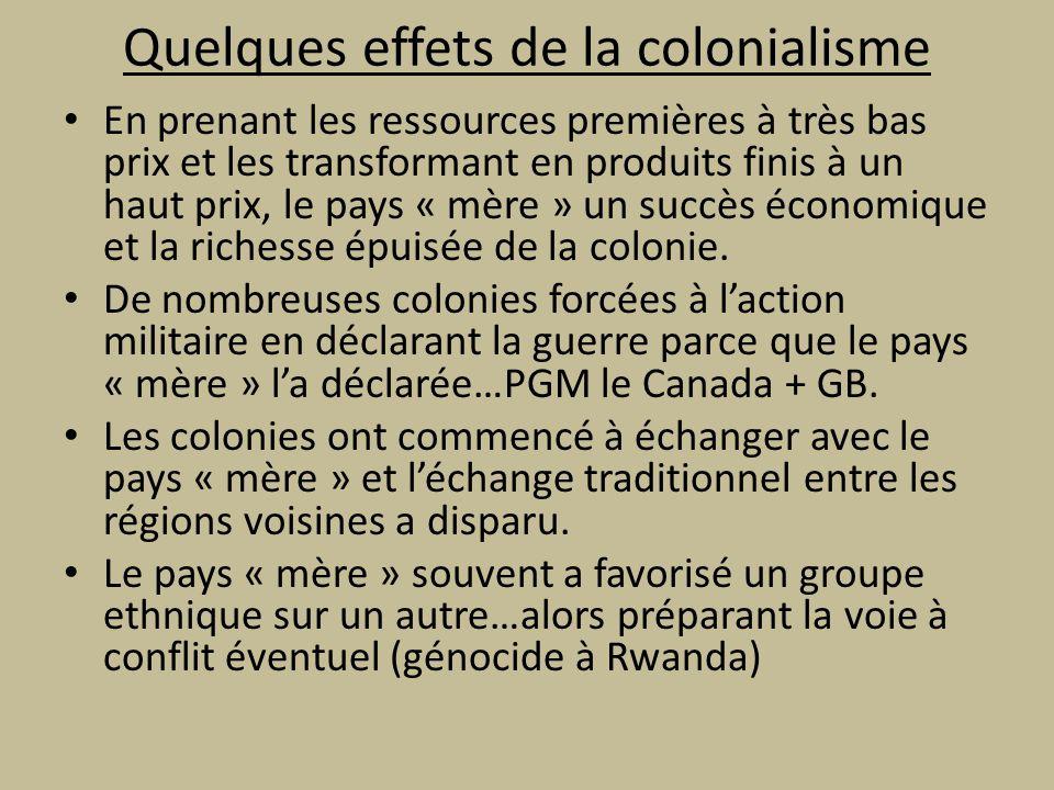 Quelques effets de la colonialisme En prenant les ressources premières à très bas prix et les transformant en produits finis à un haut prix, le pays « mère » un succès économique et la richesse épuisée de la colonie.