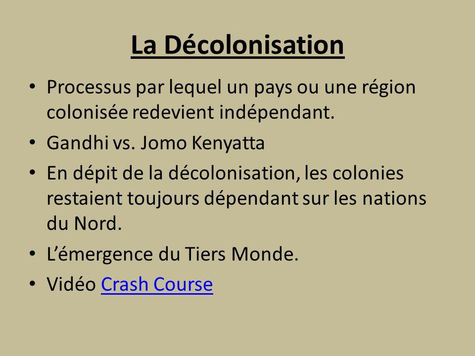 La Décolonisation Processus par lequel un pays ou une région colonisée redevient indépendant.