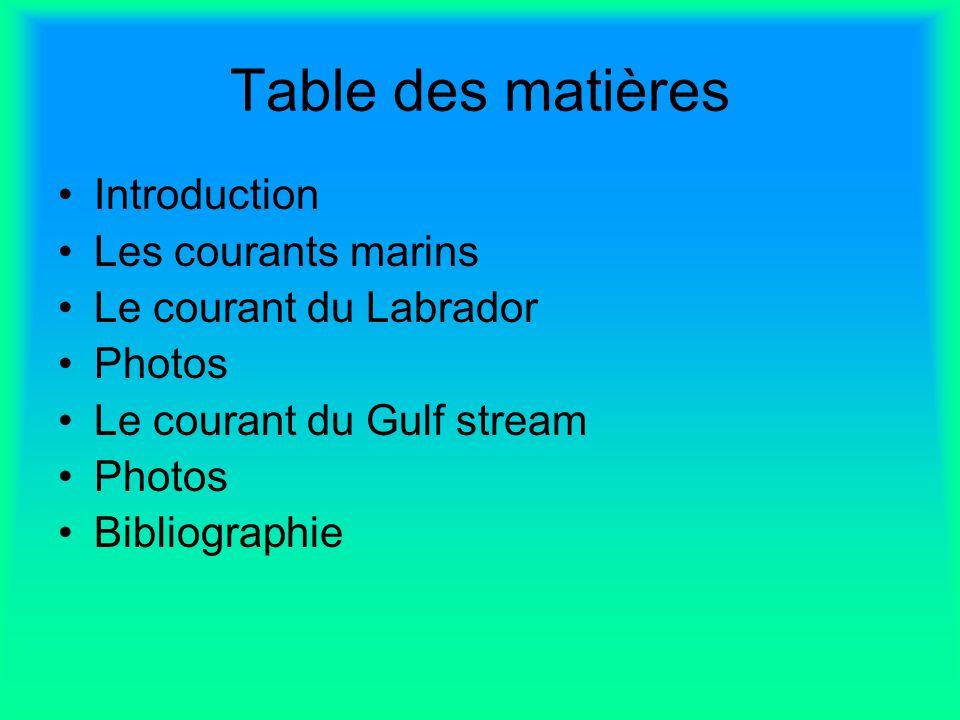 Table des matières Introduction Les courants marins Le courant du Labrador Photos Le courant du Gulf stream Photos Bibliographie