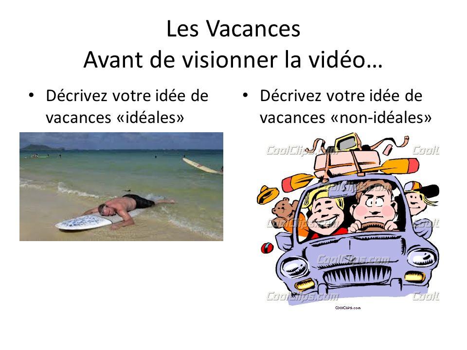 Les Vacances Avant de visionner la vidéo… Décrivez votre idée de vacances «idéales» Décrivez votre idée de vacances «non-idéales»