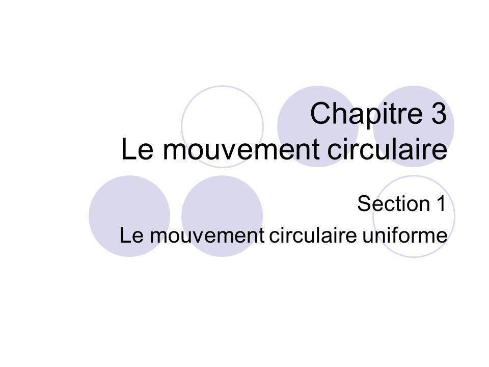 Chapitre 3 Le mouvement circulaire Section 1 Le mouvement circulaire uniforme
