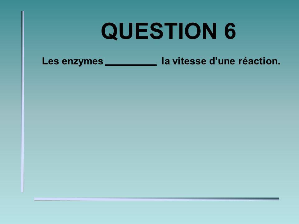 QUESTION 5 Les enzymes lénergie dactivation nécessaire pour une telle réaction.