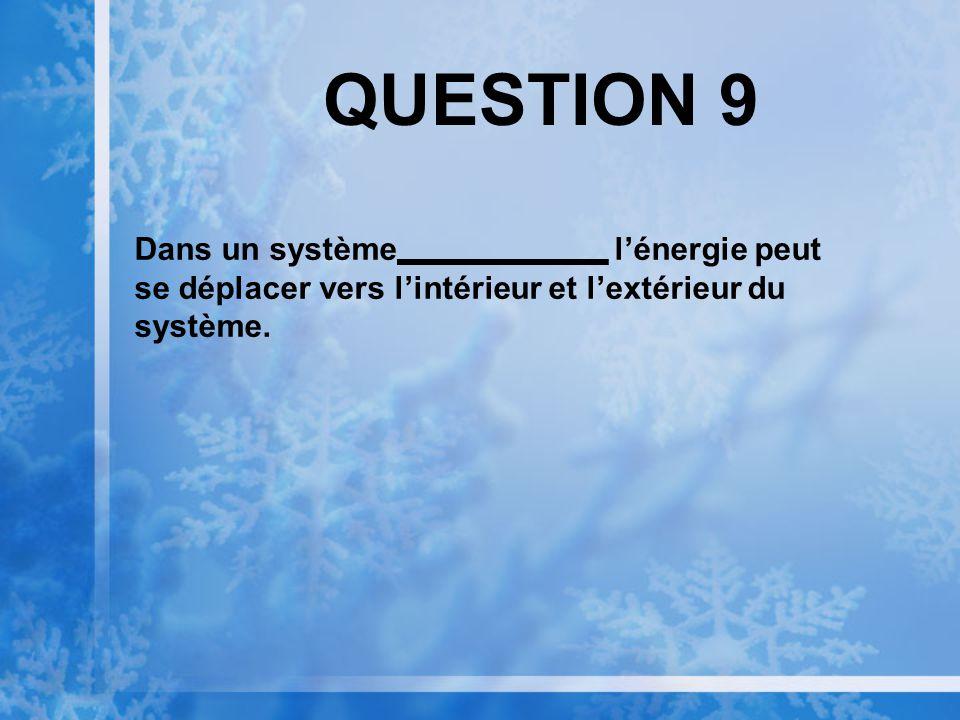 QUESTION 8 est la tendance vers le désordre dans une réaction chimique ou dans un système.