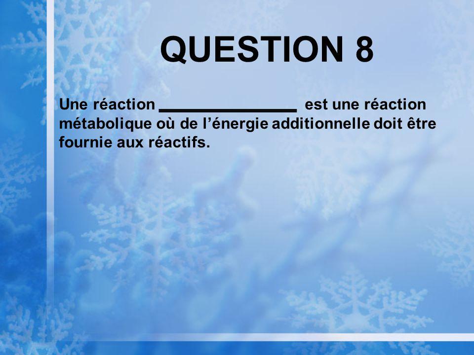 QUESTION 7 Une réaction est une réaction métabolique qui libère de lénergie.