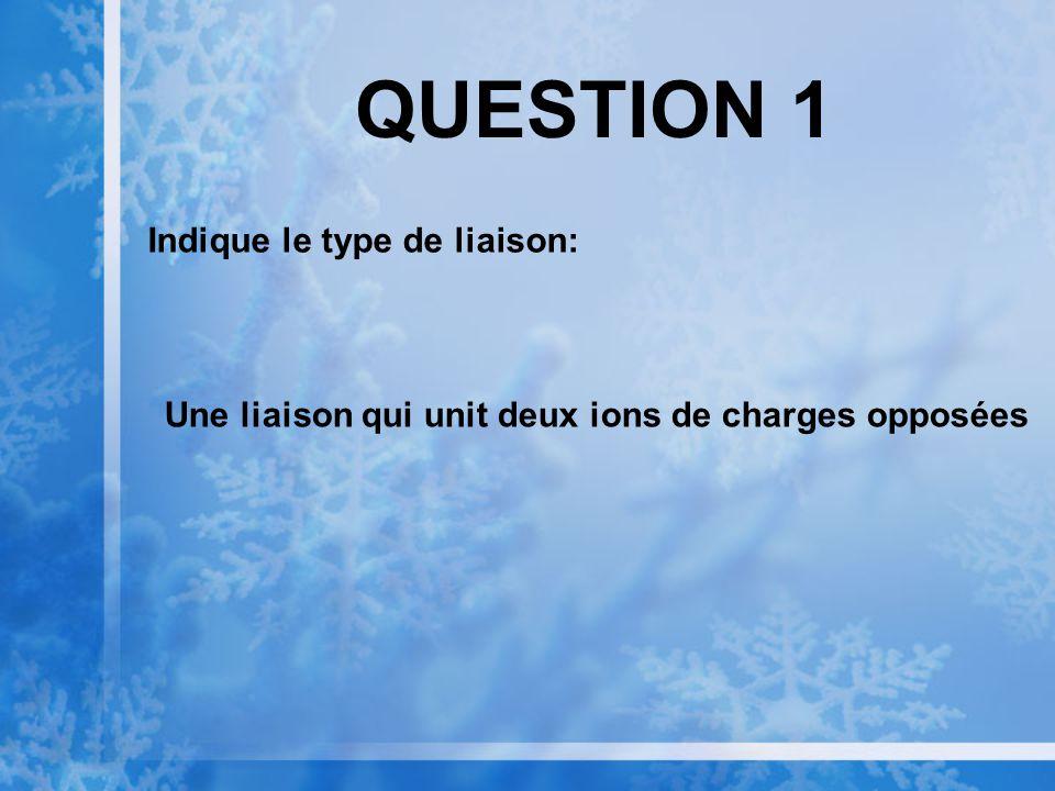 QUESTION 1 Indique le type de liaison: Une liaison qui unit deux ions de charges opposées