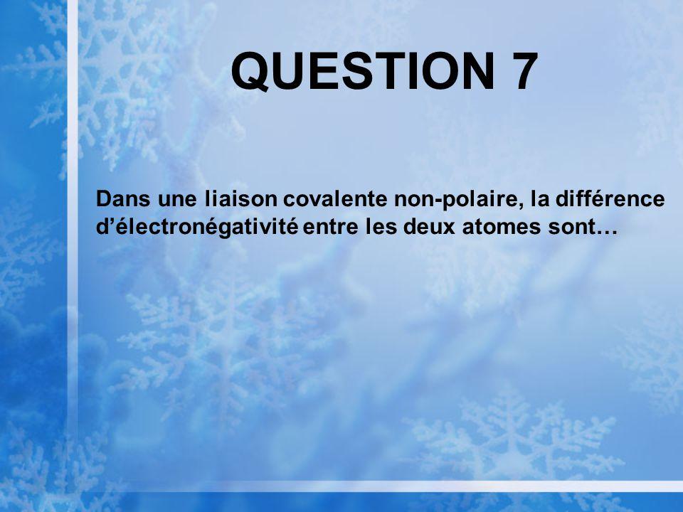 QUESTION 7 Dans une liaison covalente non-polaire, la différence délectronégativité entre les deux atomes sont…