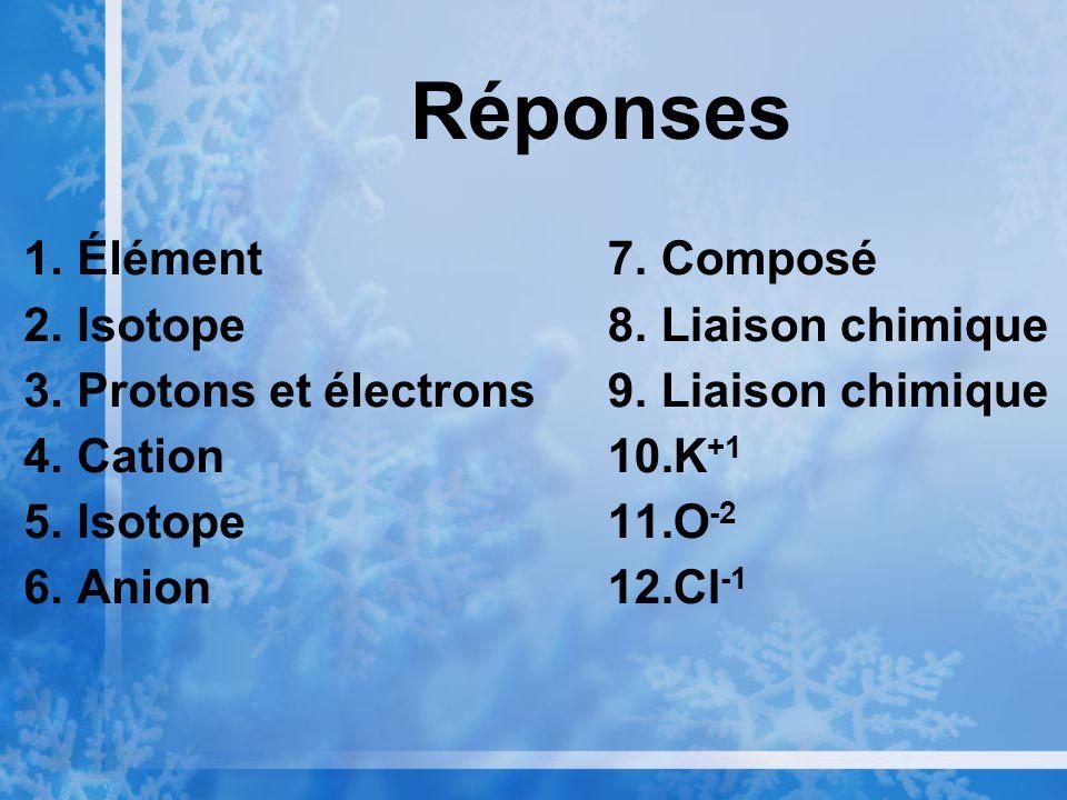 Réponses 1.Élément 2.Isotope 3.Protons et électrons 4.Cation 5.Isotope 6.Anion 7.Composé 8.Liaison chimique 9.Liaison chimique 10.K +1 11.O -2 12.Cl -