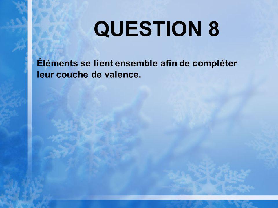QUESTION 8 Éléments se lient ensemble afin de compléter leur couche de valence.