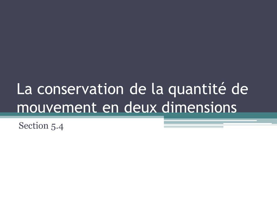 La conservation de la quantité de mouvement en deux dimensions Section 5.4