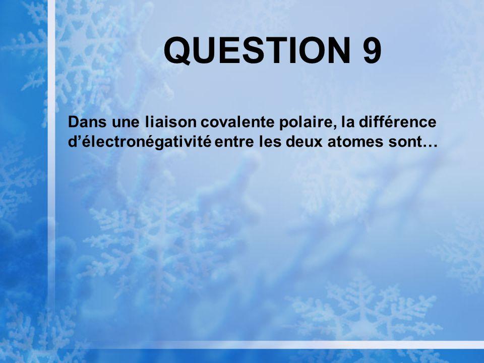 QUESTION 8 Les groupements fonctionnels augmentent la solubilité dune molécule organique parce quils sont