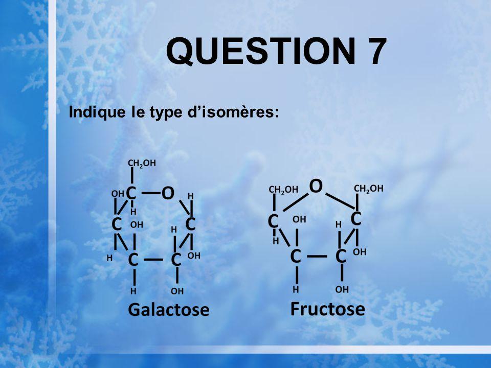 QUESTION 7 Indique le type disomères:
