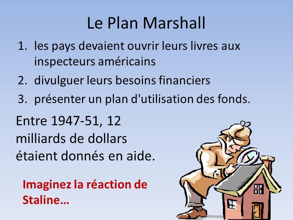 Le Plan Marshall 1.les pays devaient ouvrir leurs livres aux inspecteurs américains 2.divulguer leurs besoins financiers 3.présenter un plan d'utilisa