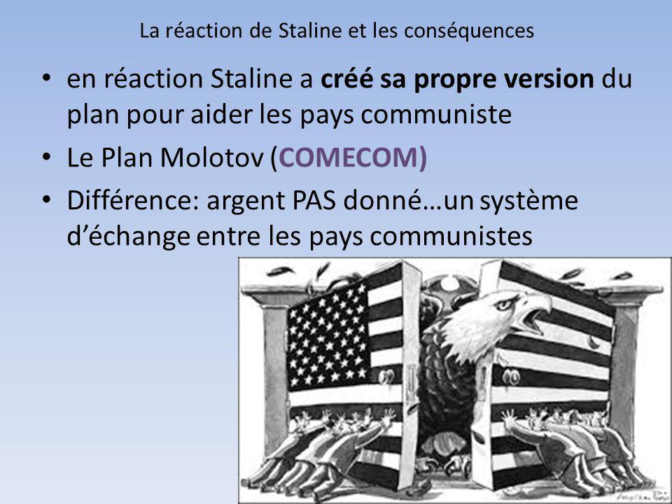 La réaction de Staline et les conséquences en réaction Staline a créé sa propre version du plan pour aider les pays communiste Le Plan Molotov (COMECO