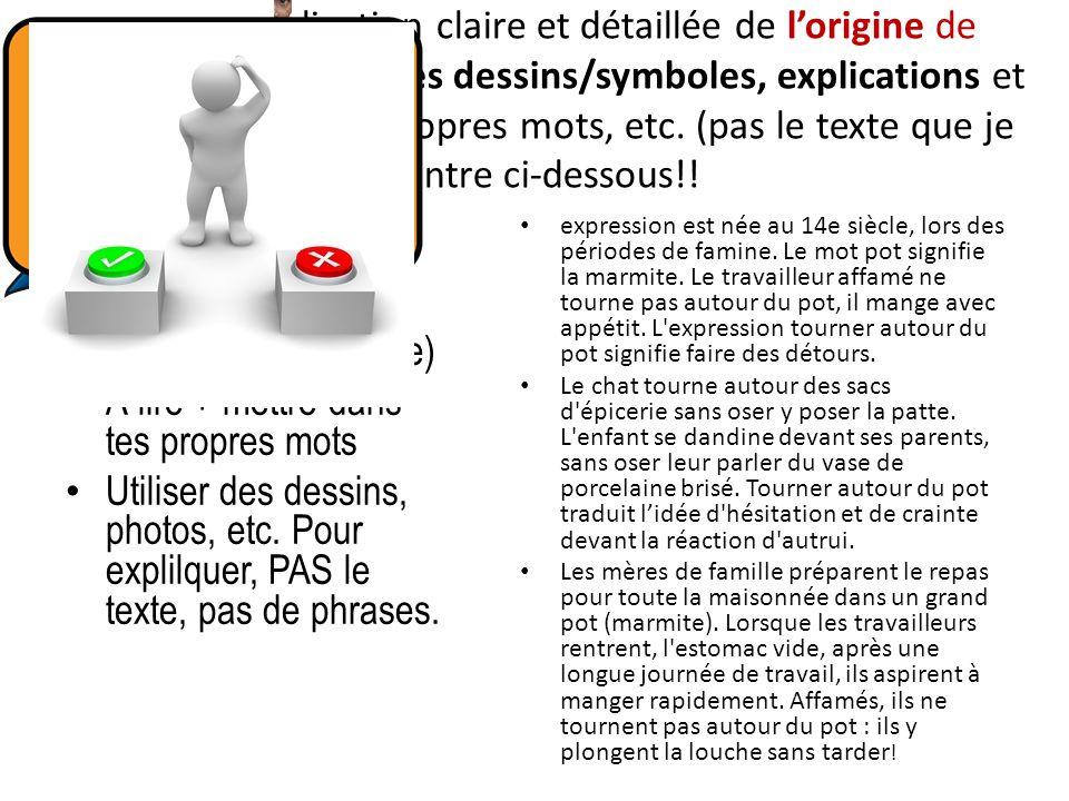 # 2: Une explication claire et détaillée de lorigine de lexpression à partir des dessins/symboles, explications et exemples dans vos propres mots, etc