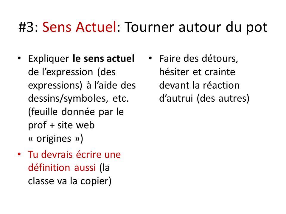#3: Sens Actuel: Tourner autour du pot Expliquer le sens actuel de lexpression (des expressions) à laide des dessins/symboles, etc. (feuille donnée pa